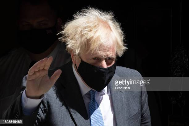 British Prime Minister Boris Johnson leaves number 10, Downing Street on June 16, 2021 in London, England. Mr Johnson attended the weekly Prime...