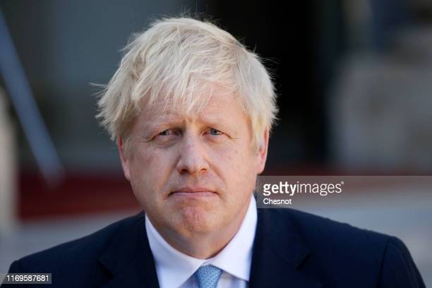 British Prime Minister Boris Johnson makes a statement to the media prior to his meeting on Brexitwith French President Emmanuel Macron at the Elysee...