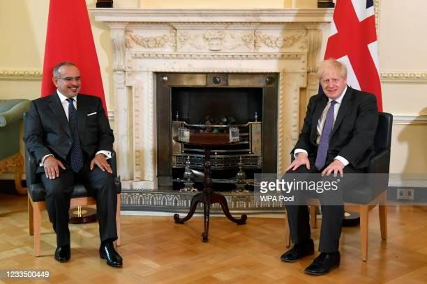 British Prime Minister Boris Johnson meets Bahrain's Crown Prince and Prime Minister, HRH Prince Salman bin Hamad Al Khalifa, at Downing Street on...