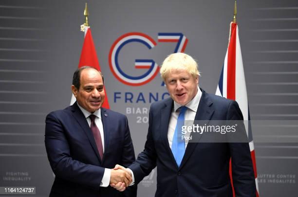 British Prime Minister Boris Johnson meets Egyptian President AbdelFattah elSisi for bilateral talks during the G7 summit on August 24 2019 in...