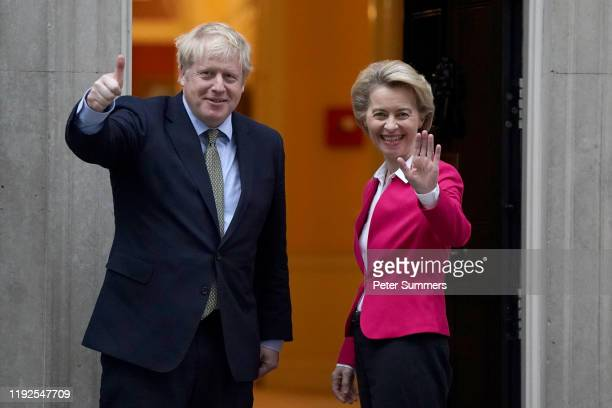 British Prime Minister Boris Johnson meets EU Commission President Ursula von der Leyen at 10 Downing Street on January 8 2020 in London England...