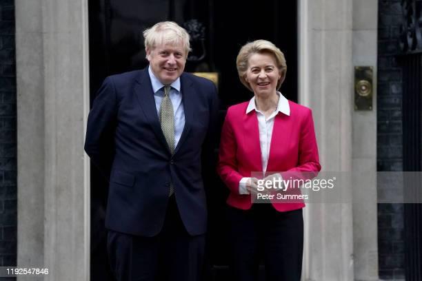 British Prime Minister Boris Johnson meets EU Commission President Ursula von der Leyen at 10 Downing Street on January 8, 2020 in London, England....