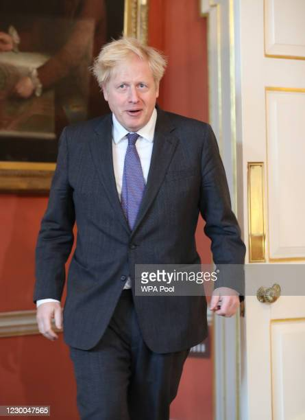 British Prime Minister Boris Johnson meets Sheikh Mohammed bin Zayed Al Nahyan , president and crown prince of the United Arab Emirates, in Downing...