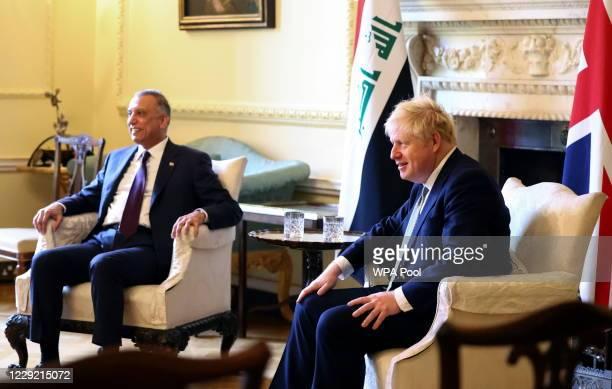 British Prime Minister Boris Johnson meets with Iraqi Prime Minister Mustafa AlKadhimi in 10 Downing Street on October 22 2020 in London England