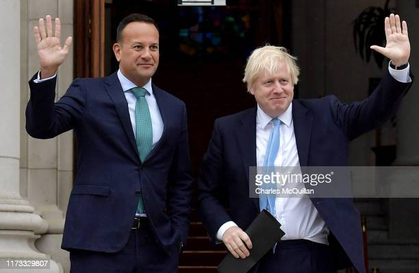 British Prime Minister Boris Johnson meets with Irish Taoiseach Leo Varadkar at Government Buildings on September 9 2019 in Dublin Ireland The...