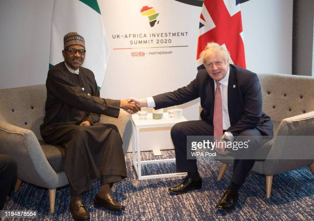 British Prime Minister Boris Johnson meets with President of Nigeria Muhammadu Buhari during the UKAfrica Investment Summit at the Intercontinental...