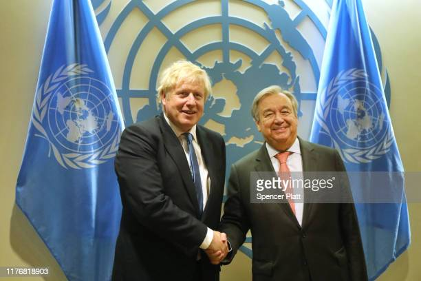 British Prime Minister Boris Johnson meets with United Nations SecretaryGeneral Antonio Guterres at the UN General Assembly on September 24 2019 in...