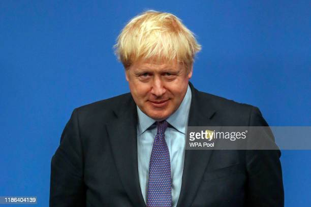 British Prime Minister Boris Johnson onstage during the annual NATO heads of government summit on December 4 2019 in Watford England France and the...