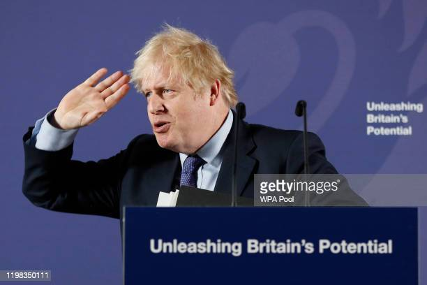 British Prime Minister Boris Johnson outlines his government's negotiating stance with the European Union after Brexit, during a key speech at the...
