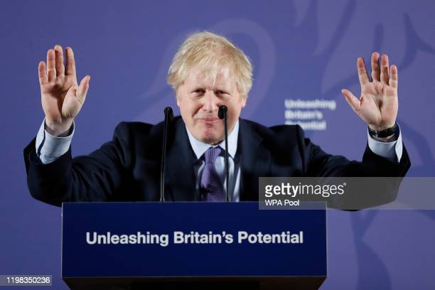 British Prime Minister Boris Johnson outlines his government's negotiating stance with the European Union after Brexit during a key speech at the Old...