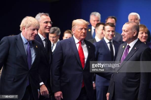 British Prime Minister Boris Johnson, Secretary General of NATO Jens Stoltenberg, US President Donald Trump, French President Emmanuel Macron and...