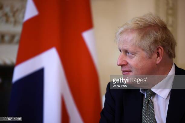 British Prime Minister Boris Johnson seen as he meets with Iraqi Prime Minister Mustafa AlKadhimi in 10 Downing Street on October 22 2020 in London...