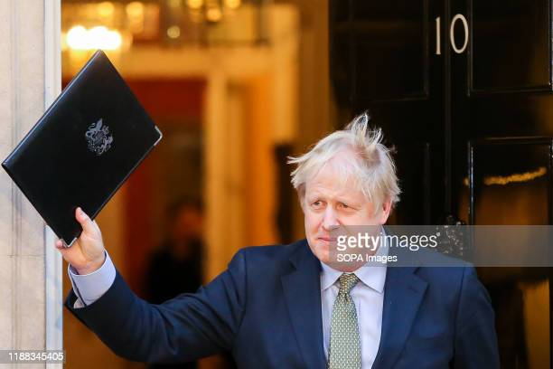 British Prime Minister Boris Johnson seen outside No 10 Downing Street London after his gamble on early election paid off as the Conservative Party...