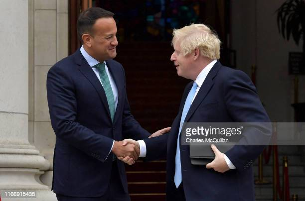 British Prime Minister Boris Johnson shakes hands with Irish Taoiseach Leo Varadkar ahead of their meeting at Government Buildings on September 9...
