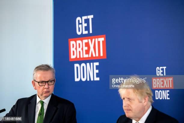 British Prime Minister Boris Johnson speaks at a press conference alongside cabinet minister Michael Gove on November 29, 2019 in London, England. Mr...