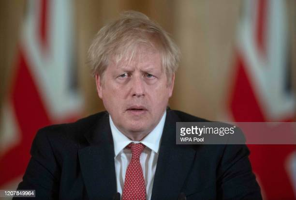 British Prime Minister Boris Johnson speaks during a daily press conference at 10 Downing Street on March 20 2020 in London England During the press...
