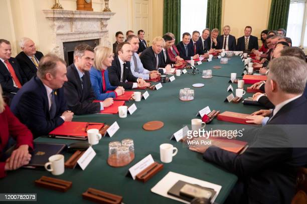 British Prime Minister Boris Johnson speaks during his first Cabinet meeting after a reshuffle the day before, inside 10 Downing Street, at Downing...