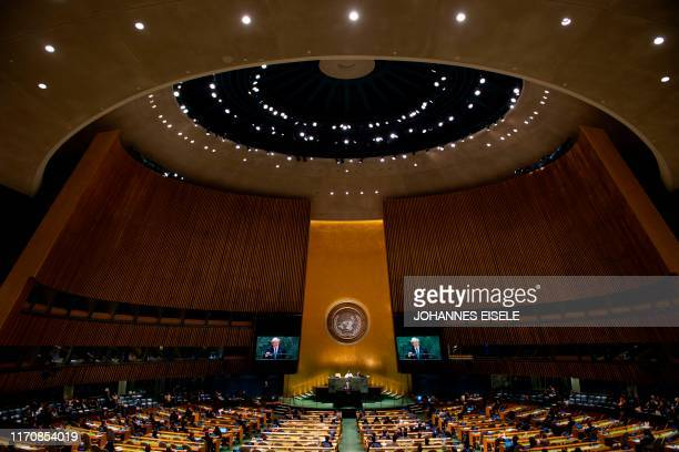 British Prime Minister Boris Johnson speaks during the 74th session of the United Nations General Assembly on September 24, 2019 at the United...