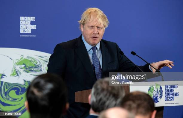 British Prime Minister Boris Johnson speaks during the launch of the UK-hosted COP26 UN Climate Summit, which is being held this autumn in Glasgow,...