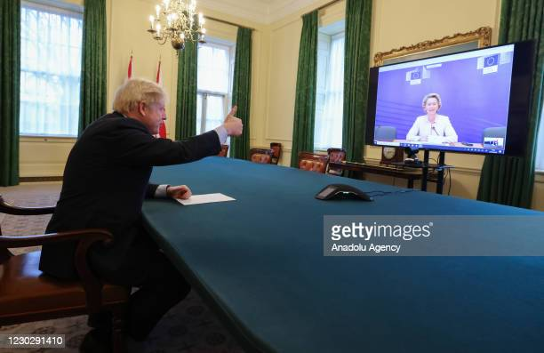 British Prime Minister Boris Johnson speaks to President of the European Commission Ursula von der Leyen via video link from the Cabinet room after...