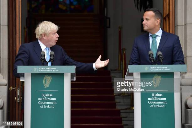 British Prime Minister Boris Johnson speaks to the media ahead of his meeting with Irish Taoiseach Leo Varadkar at Government Buildings on September...