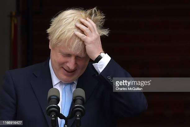 British Prime Minister Boris Johnson speaks to the media ahead of his meeting with Irish Taoiseach Leo Varadkar at Government Buildings on September...