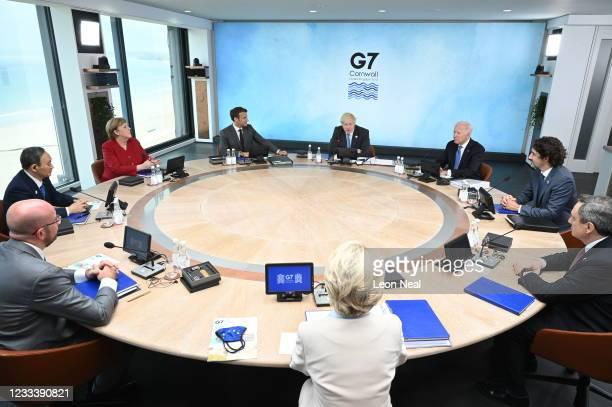 British Prime Minister Boris Johnson, US President Joe Biden, Canadian Prime Minister Justin Trudeau, Italian Prime Minister Mario Draghi, President...