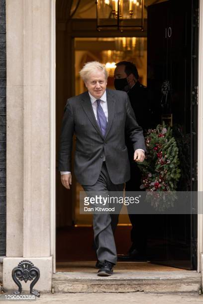 British Prime Minister Boris Johnson waits to welcome Sheikh Mohammed bin Zayed Al Nahyan, president and crown prince of the United Arab Emirates, to...
