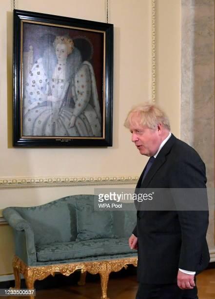 British Prime Minister Boris Johnson walks ahead of his meeting with Bahrain's Crown Prince and Prime Minister, HRH Prince Salman bin Hamad Al...