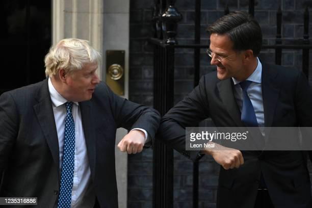 British Prime Minister Boris Johnson welcomes Dutch Prime Minister Mark Rutte at 10 Downing Street on September 17, 2021 in London, United Kingdom....