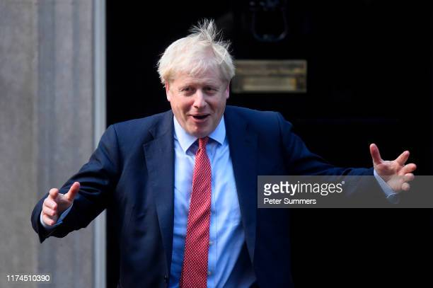 British Prime Minister Boris Johnson welcomes President of the European Parliament David Sassoli to 10 Downing Street on October 8, 2019 in London,...
