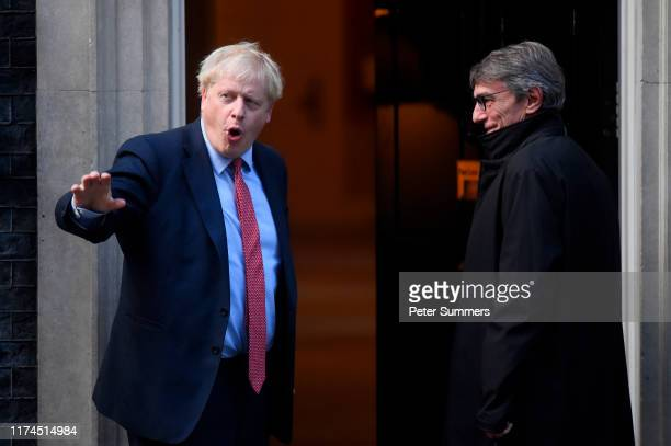 British Prime Minister Boris Johnson welcomes President of the European Parliament David Sassoli to 10 Downing Street on October 8 2019 in London...