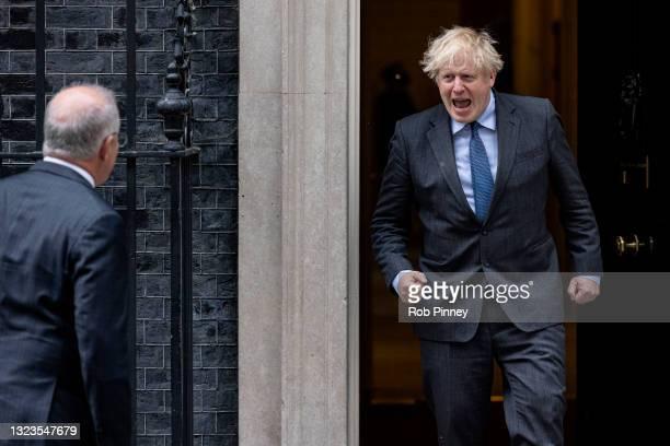British Prime Minister Boris Johnson welcomes Prime Minister of Australia Scott Morrison to 10 Downing Street on June 14, 2021 in London, England.