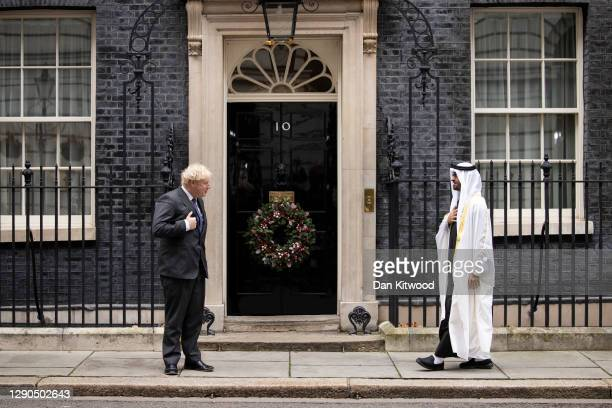 British Prime Minister Boris Johnson welcomes Sheikh Mohammed bin Zayed Al Nahyan, president and crown prince of the United Arab Emirates, to Downing...