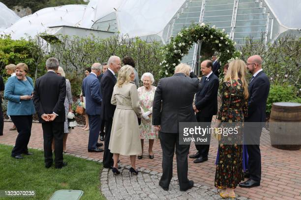 British Prime Minister Boris Johnson wife Carrie Johnson , United States President Joe Biden, First Lady Jill Biden, German Chancellor Angela Merkel...