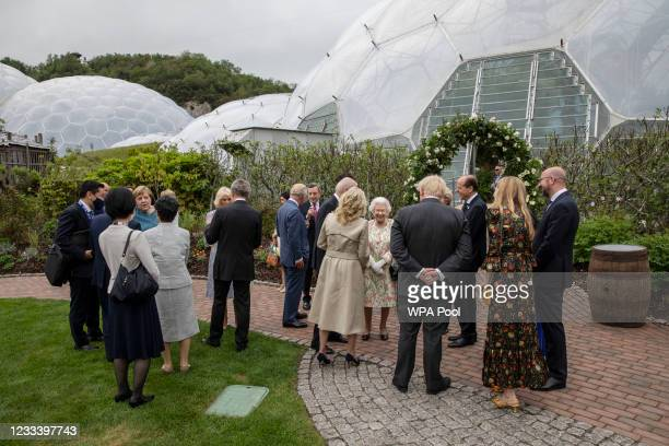 British Prime Minister Boris Johnson with wife Carrie Johnson , United States President Joe Biden, First Lady Jill Biden, German Chancellor Angela...