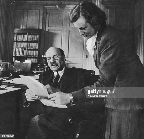 British Prime Minister Clement Attlee during an interview in his office for Picture Post Magazine with Labour politician Barbara Castle 27th July...