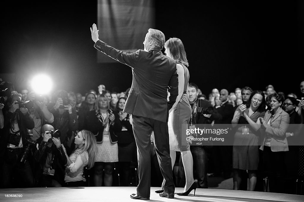 British Prime Minister David Cameron acknowledges the applause with his wife Samantha after delivering his keynote speech to delegates on the last day of the annual Conservative Party Conference at Manchester Central on October 2, 2013 in Manchester, England. During his closing speech David Cameron said that his 'abiding mission' would make the UK into a 'land of opportunity'.