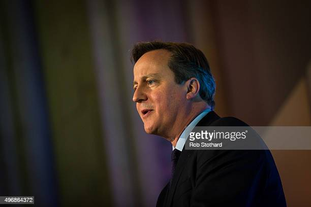 British Prime Minister David Cameron addresses industry leaders at Guildhall on November 12 2015 in London England Indian Prime Minister Narendra...