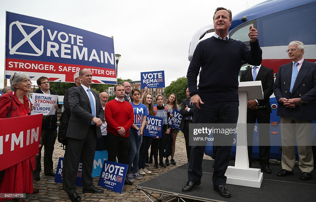 British Prime Minister David Cameron addresses pro-EU 'Vote Remain' supporters during a rally on June 22, 2016 in Bristol, United Kingdom. The final day of campaigning continues across the UK as the country prepares to go to the polls on June 23rd to decide whether Britain should remain or leave the European Union.