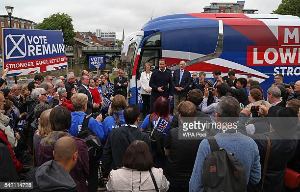 British Prime Minister David Cameron addresses proEU 'Vote Remain' supporters during a rally on June 22 2016 in Bristol United Kingdom The final day...