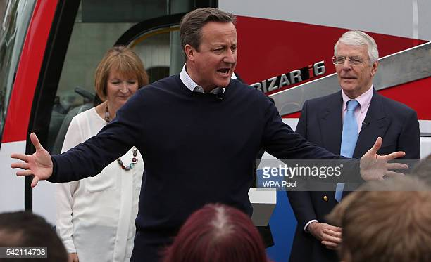 British Prime Minister David Cameron addresses proEU 'Vote Remain' supporters with Labour MP Harriet Harman and former Conservative Prime Minister...