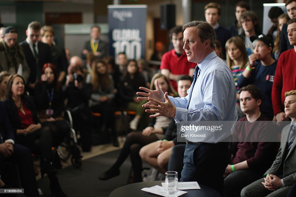 British Prime Minister David Cameron addresses students at Exeter University on April 7, 2016 in Exeter, England. The Government have announced that every household in the country will receive a taxpayer-funded leaflet on the referendum setting out the case for Britain to remain in the European Union. The UK will vote on whether or not to remain in the European Union on June 23, 2016.