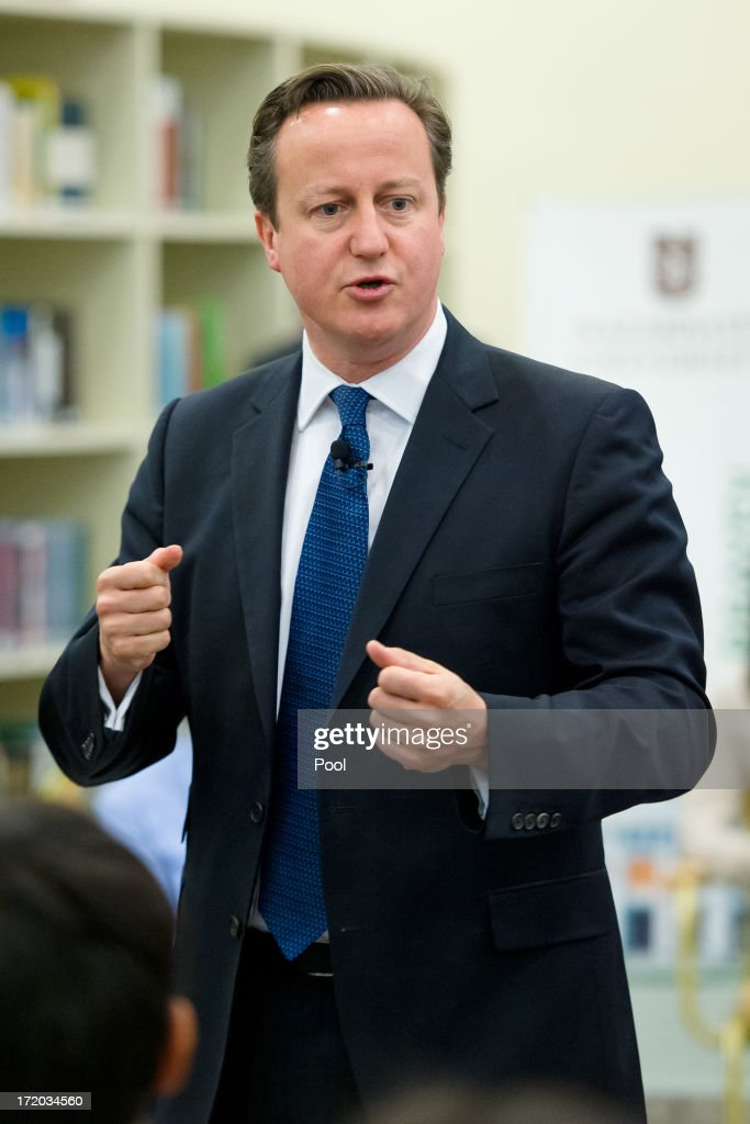 British Prime Minister David Cameron addresses students during a PM Direct event at Nazarbayev University on July 1, 2013 in Astana, Kazakhstan. Cameron is visiting Kazakhstan as part of a trade mission; the first ever trip to the country by a serving British Prime Minister, after making an unannounced trip to visit troops in Afghanistan and meeting with the Prime Minister of Pakistan in Islamabad.