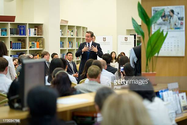British Prime Minister David Cameron addresses students during a PM Direct event at Nazarbayev University on July 1 2013 in Astana Kazakhstan Cameron...
