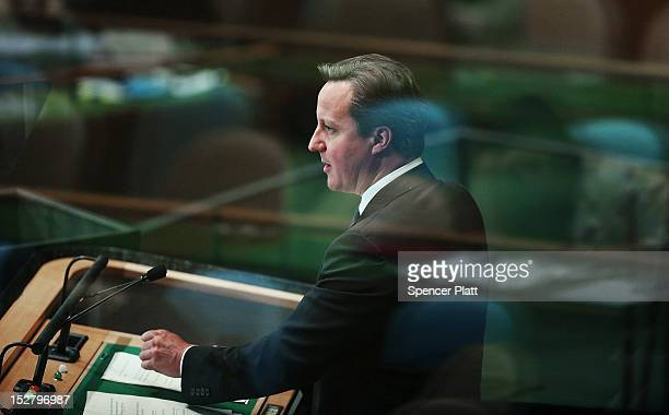 British Prime Minister David Cameron addresses world leaders at the United Nations General Assembly on September 26 2012 in New York City Over 120...