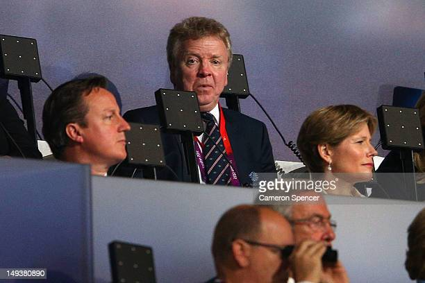 British Prime Minister David Cameron and British Olympic Association chairman Lord Colin Moynihan during the Opening Ceremony of the London 2012...