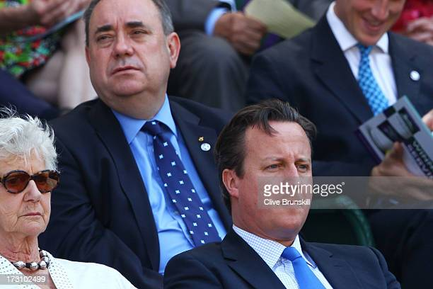 British Prime Minister David Cameron and First Minister of Scotland Alex Salmond attend the Gentlemen's Singles Final match between Andy Murray of...