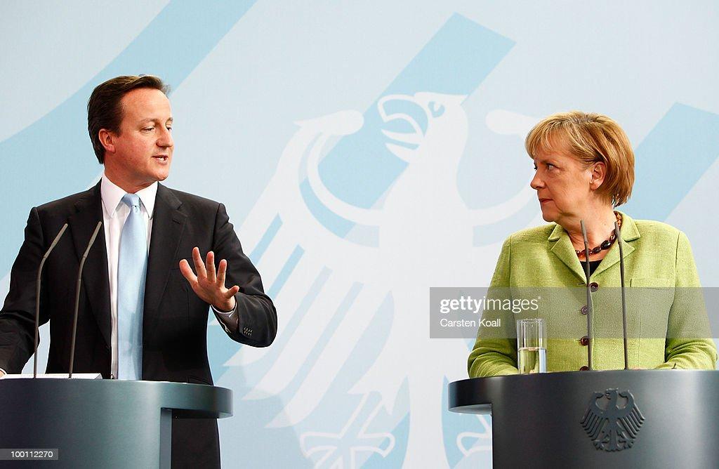 Merkel Meets With British Prime Minister David Cameron : News Photo