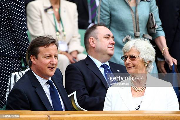 British Prime Minister David Cameron and his mother Mary Cameron sit in the Royal Box during the Gentlemen's Singles final match between Roger...